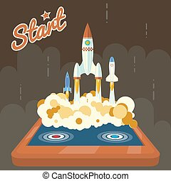 Retro Start Up Poster Concept Symbol Space Roket Ship Launch...