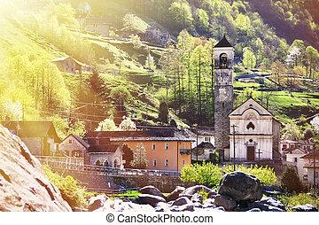 Lavertezzo village in Verzasca valley, Swtzerland