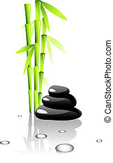 SPA. Bamboo and black stones.Isolated on white. EPS 8, AI,...