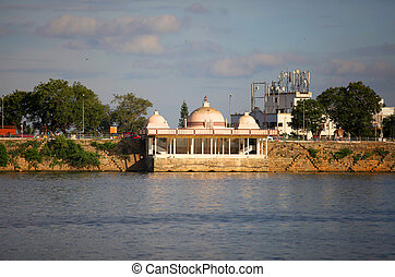 Lake Hussain sagar - Buddha temple at lake Hussain sagar in...