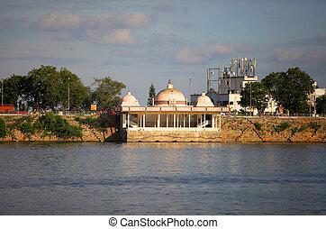 Lake Hussain sagar - Buddha temple at lake Hussain sagar in...