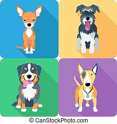 dog icon flat design, Bull Terrier and Chihuahua, Miniature...