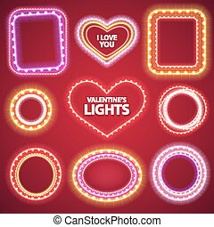 Valentines Neon Lights Frames with a Copy Space Set2 for...