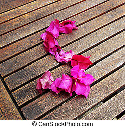 Letter S of petals on the wooden table