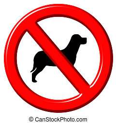 No dogs 3d sign