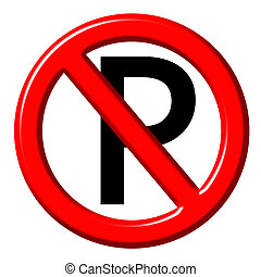 No parking 3d sign  isolated in white