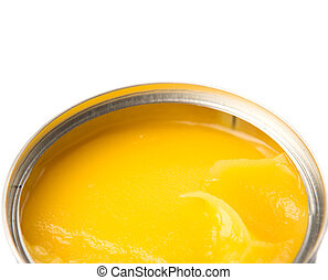 Indian Ghee - Indian ghee in a tin can over white background