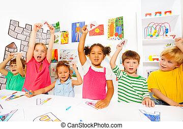 crianças, Grupo, aprender, letras, leitura, classe, primeiro