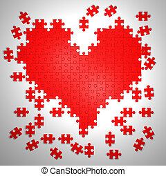 colorful puzzle pieces in heart shape 3d illustration...