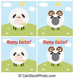 Ram And Sheep Greeting Card Modern Flat Design. Collection...