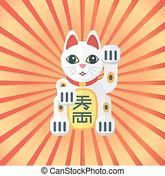 vector colored flat design japan maneki cat of luck on...