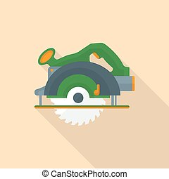 vector colored flat design electric hand circular saw icon...