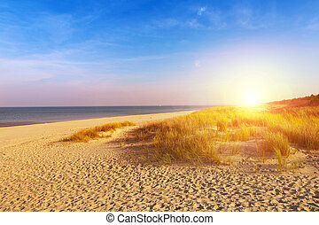 Baltic sea sand dunes over sunset, Baltic coast Poland
