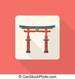 vector colored flat design traditional japan gate torii icon...