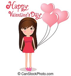 Cute girl Happy Valentine' s Day holding balloons heart.