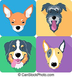 dog icon flat design - dog icon flat design, Bull Terrier...