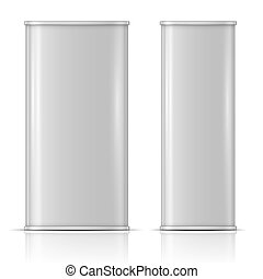 Tin oil can, front and side view - Rectanglular oil can:...