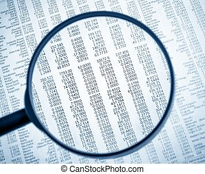 financial data see through lens of loupe on financial...