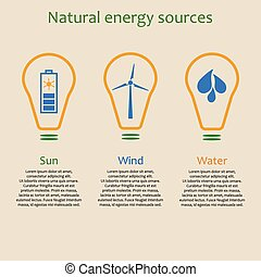 Natural energy sources - Infographics of natural energy...