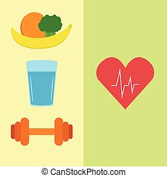 Healthy food, water and sport - Natural food, water and...