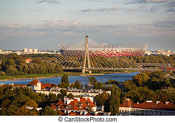 Warsaw National Stadium at autumn time