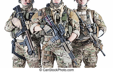 United States Army rangers with assault rifles