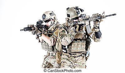 US army rangers - United States Army rangers with assault...