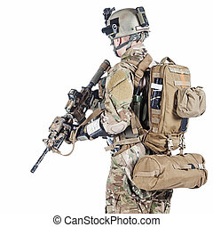 US army ranger - United States Army ranger with assault...