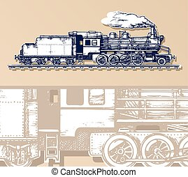 vintage train. - vector illustration of a train stylized as...