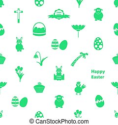 Easter icons seamless pattern - various Easter icons...
