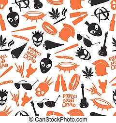 punk icons pattern - various color punk icons seamless...