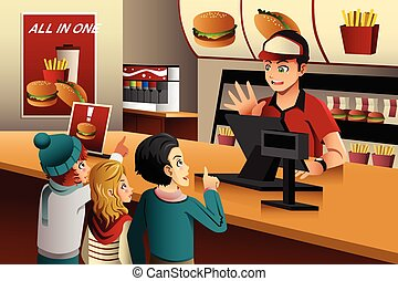 Kids ordering food at a restaurant - A vector illustration...