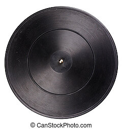 Vintage turntable platter with rubber mat isolated on white...