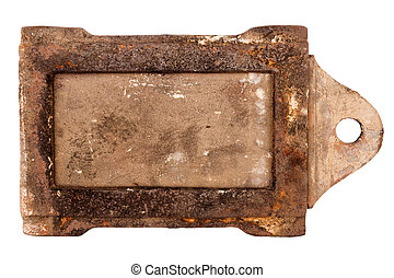 Rusty vintage stove damper isolated on white background