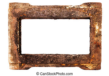 Old rusty metal frame isolated on white background