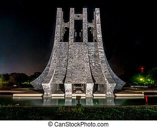 Kwame Nkrumah Memorial Park at night - Accra, Ghana