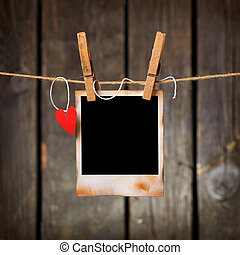 Photo frame with paper heart hang on rope - Blank instant...