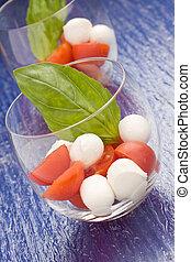 Tomato Mozzarella appetizer in glass - Caprese