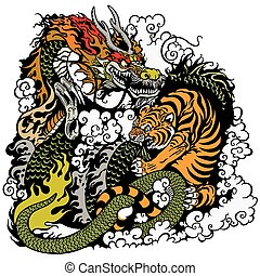 dragon and tiger fighting illustration
