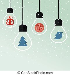 Christmas toys - light bulbs with Christmas toys