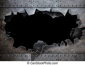 hole in metal armor steam punk background - huge hole in...