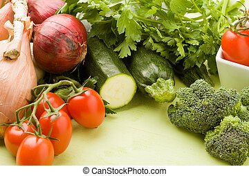 Vegetables - photo of different vegetables on green wooden...