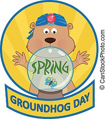 Psychic Groundhog - Cute cartoon groundhog with a crystal...