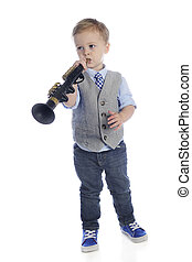 Tootin' a Clarinet - An adorable preschooler playing his toy...