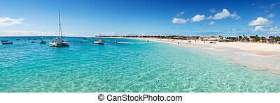 Panoramic view of Santa Maria beach in Sal Cape Verde - Cabo...