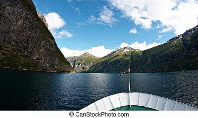 Geirangerfjord - Ferry trip through Geirangerfjord in Norway...