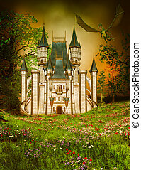 Fairy tale magical castle in the stormy night - fantasy...