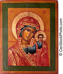 ortodoxo, icono, de, Virgen, maría,