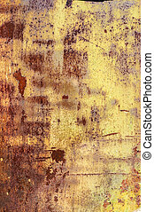 Industrial rusty metal background texture with flaking and...