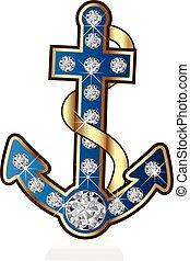 Gold anchor vector blue logo